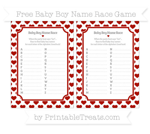 Free Turkey Red Heart Pattern Baby Boy Name Race Game