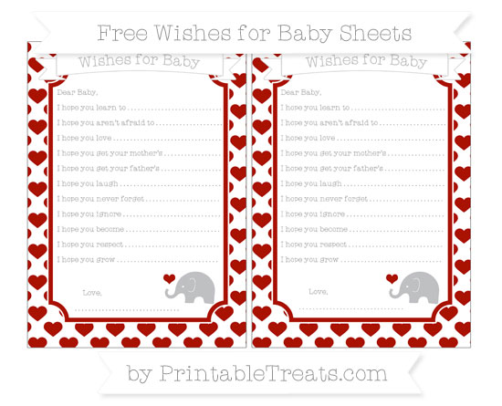 Free Turkey Red Heart Pattern Baby Elephant Wishes for Baby Sheets