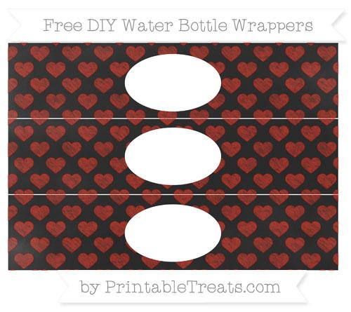 Free Turkey Red Heart Pattern Chalk Style DIY Water Bottle Wrappers