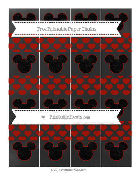 Free Turkey Red Heart Pattern Chalk Style Mickey Mouse Paper Chains
