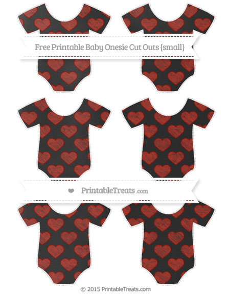 Free Turkey Red Heart Pattern Chalk Style Small Baby Onesie Cut Outs