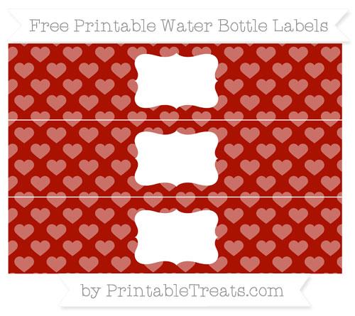 Free Turkey Red Heart Pattern Water Bottle Labels