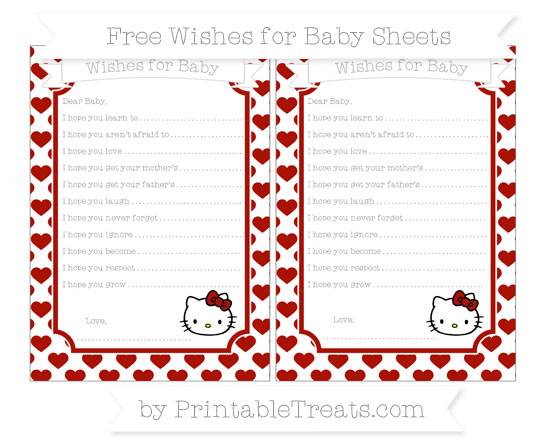 Free Turkey Red Heart Pattern Hello Kitty Wishes for Baby Sheets