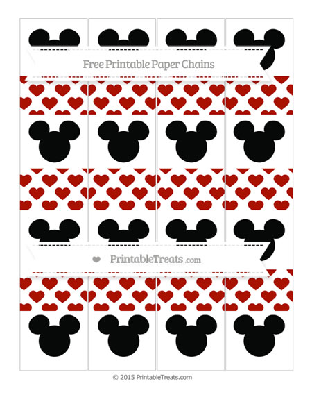Free Turkey Red Heart Pattern Mickey Mouse Paper Chains