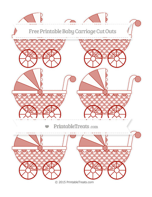 Free Turkey Red Heart Pattern Small Baby Carriage Cut Outs