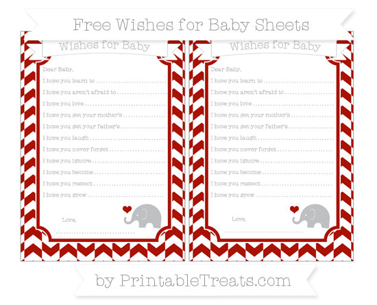 Free Turkey Red Herringbone Pattern Baby Elephant Wishes for Baby Sheets