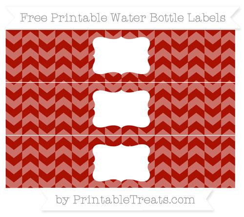 Free Turkey Red Herringbone Pattern Water Bottle Labels