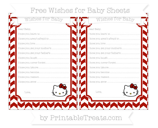 Free Turkey Red Herringbone Pattern Hello Kitty Wishes for Baby Sheets
