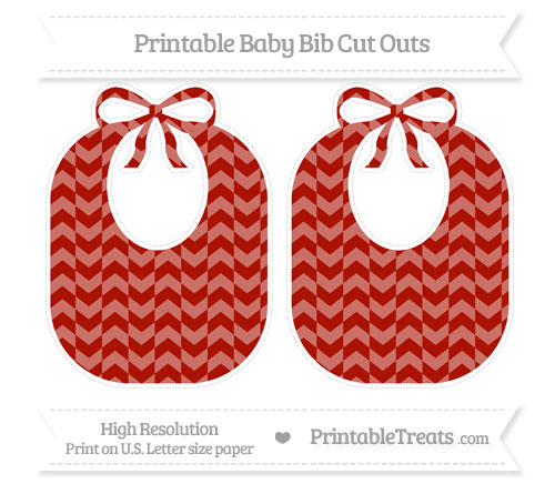 Free Turkey Red Herringbone Pattern Large Baby Bib Cut Outs