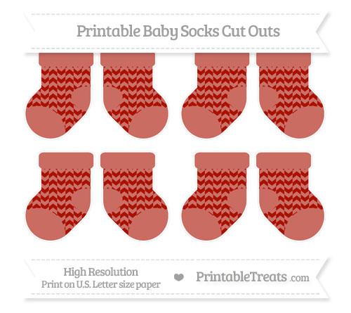 Free Turkey Red Herringbone Pattern Small Baby Socks Cut Outs