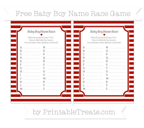 Free Turkey Red Horizontal Striped Baby Boy Name Race Game