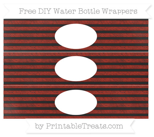 Free Turkey Red Horizontal Striped Chalk Style DIY Water Bottle Wrappers