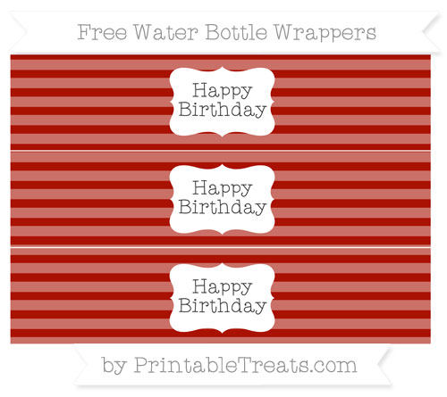 Free Turkey Red Horizontal Striped Happy Birhtday Water Bottle Wrappers
