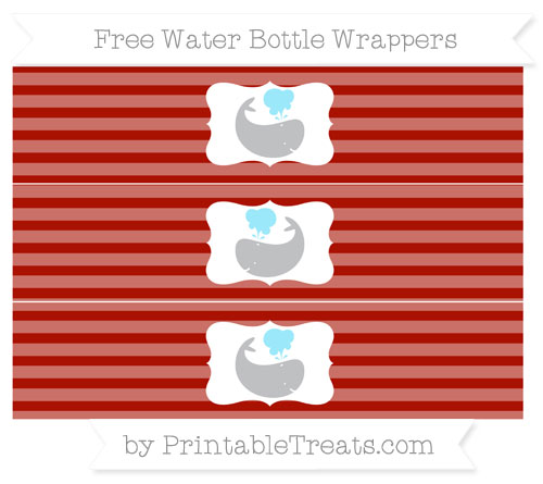 Free Turkey Red Horizontal Striped Whale Water Bottle Wrappers