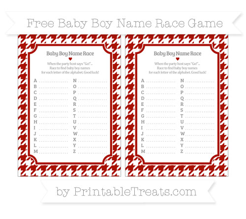 Free Turkey Red Houndstooth Pattern Baby Boy Name Race Game