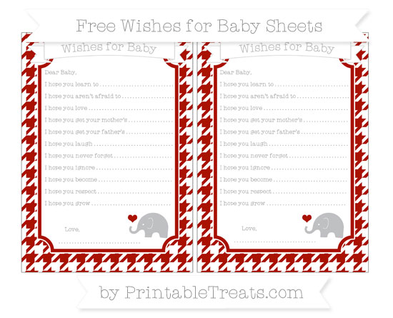 Free Turkey Red Houndstooth Pattern Baby Elephant Wishes for Baby Sheets