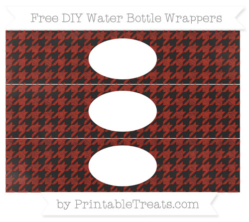 Free Turkey Red Houndstooth Pattern Chalk Style DIY Water Bottle Wrappers