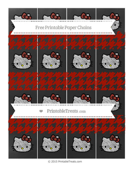 Free Turkey Red Houndstooth Pattern Chalk Style Hello Kitty Paper Chains