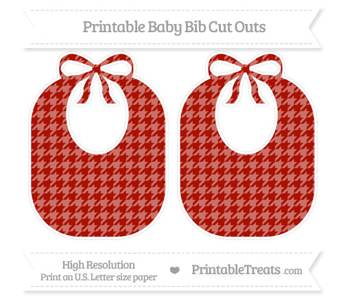 Free Turkey Red Houndstooth Pattern Large Baby Bib Cut Outs