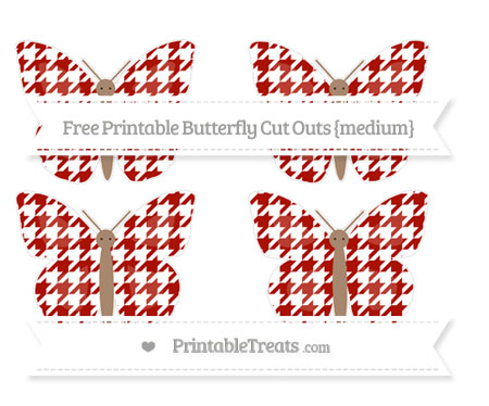 Free Turkey Red Houndstooth Pattern Medium Butterfly Cut Outs