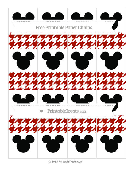 Free Turkey Red Houndstooth Pattern Mickey Mouse Paper Chains