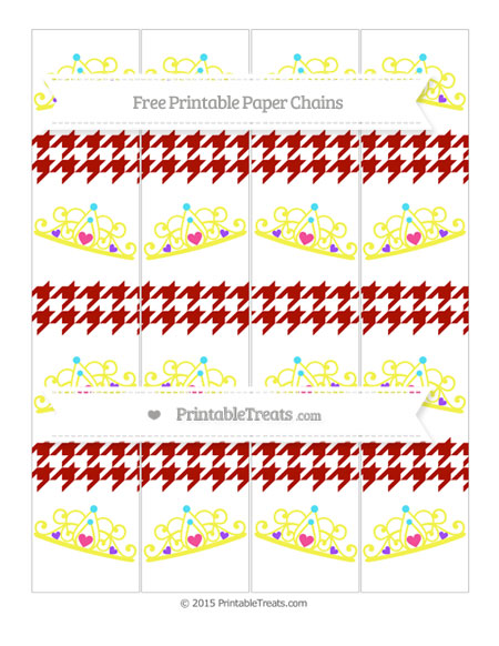 Free Turkey Red Houndstooth Pattern Princess Tiara Paper Chains
