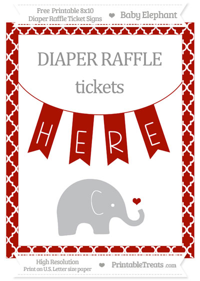Free Turkey Red Moroccan Tile Baby Elephant 8x10 Diaper Raffle Ticket Sign