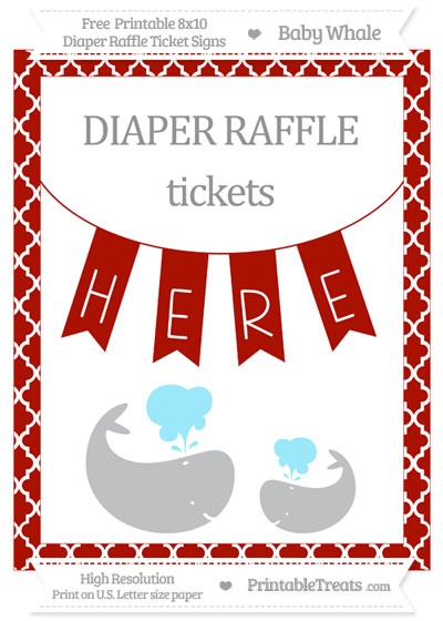 Free Turkey Red Moroccan Tile Baby Whale 8x10 Diaper Raffle Ticket Sign