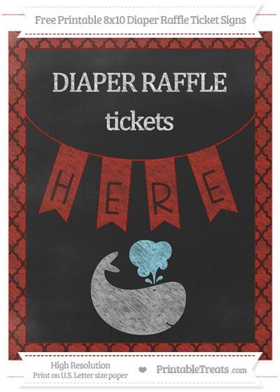 Free Turkey Red Moroccan Tile Chalk Style Whale 8x10 Diaper Raffle Ticket Sign