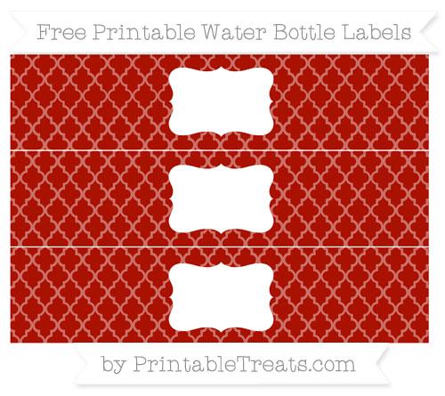 Free Turkey Red Moroccan Tile Water Bottle Labels