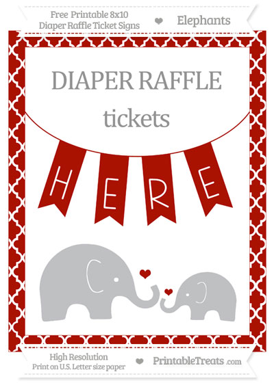 Free Turkey Red Moroccan Tile Elephant 8x10 Diaper Raffle Ticket Sign