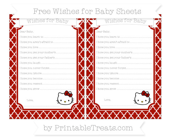 Free Turkey Red Moroccan Tile Hello Kitty Wishes for Baby Sheets