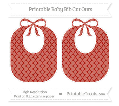 Free Turkey Red Moroccan Tile Large Baby Bib Cut Outs