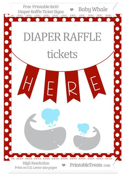 Free Turkey Red Polka Dot Baby Whale 8x10 Diaper Raffle Ticket Sign