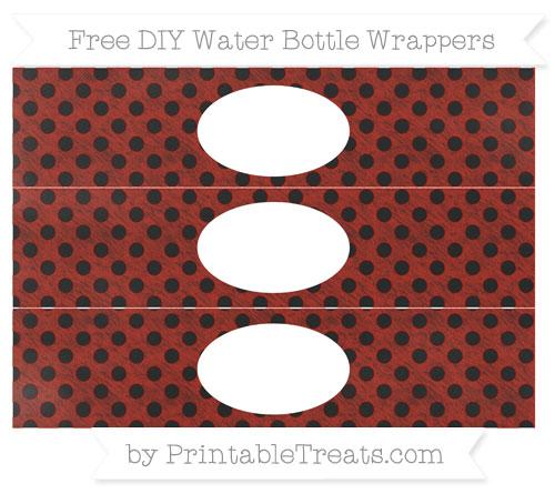 Free Turkey Red Polka Dot Chalk Style DIY Water Bottle Wrappers