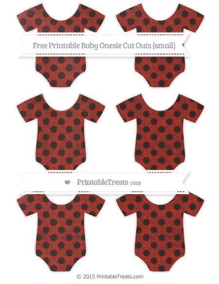 Free Turkey Red Polka Dot Chalk Style Small Baby Onesie Cut Outs