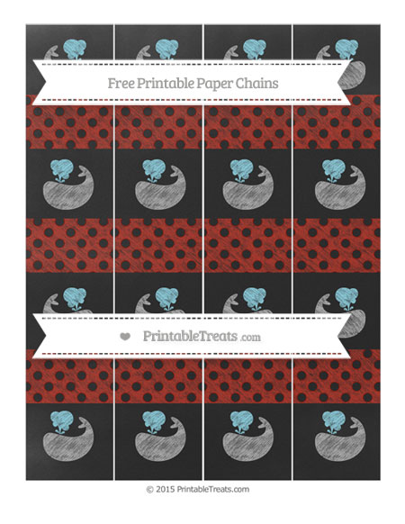 Free Turkey Red Polka Dot Chalk Style Whale Paper Chains