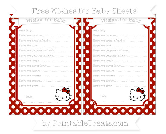 Free Turkey Red Polka Dot Hello Kitty Wishes for Baby Sheets