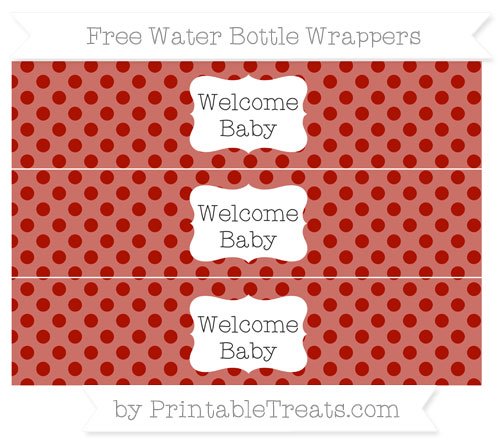 Free Turkey Red Polka Dot Welcome Baby Water Bottle Wrappers