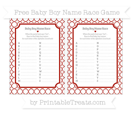 Free Turkey Red Quatrefoil Pattern Baby Boy Name Race Game