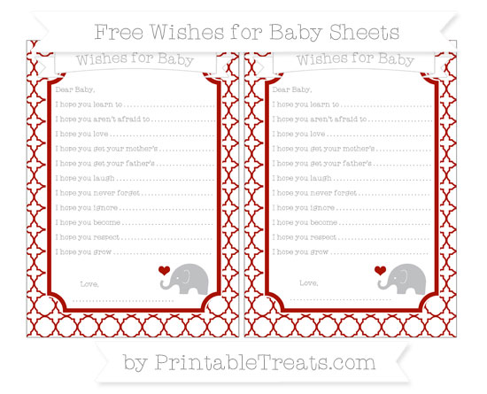 Free Turkey Red Quatrefoil Pattern Baby Elephant Wishes for Baby Sheets