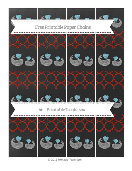 Free Turkey Red Quatrefoil Pattern Chalk Style Baby Whale Paper Chains