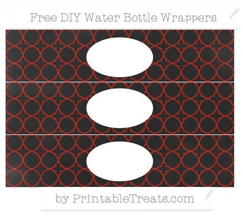 Free Turkey Red Quatrefoil Pattern Chalk Style DIY Water Bottle Wrappers