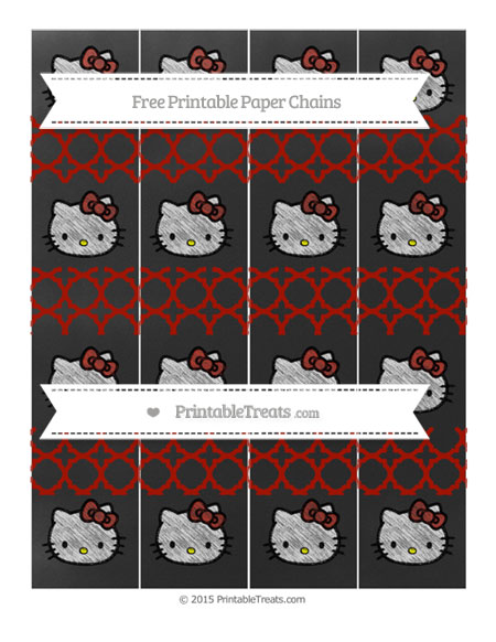 Free Turkey Red Quatrefoil Pattern Chalk Style Hello Kitty Paper Chains