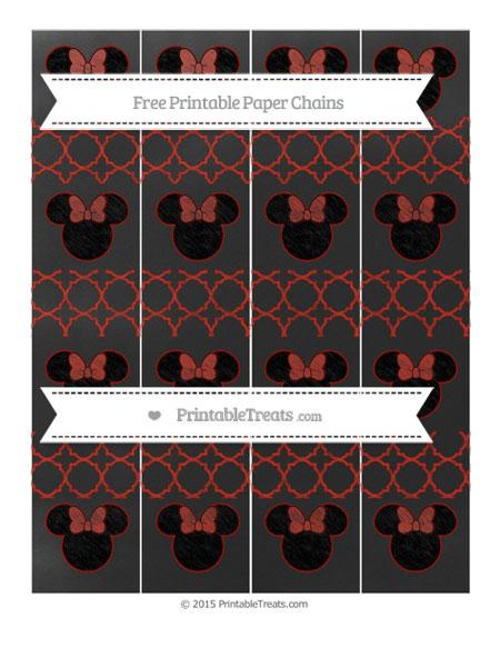 Free Turkey Red Quatrefoil Pattern Chalk Style Minnie Mouse Paper Chains