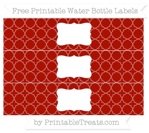 Free Turkey Red Quatrefoil Pattern Water Bottle Labels