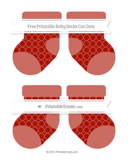 Free Turkey Red Quatrefoil Pattern Medium Baby Socks Cut Outs