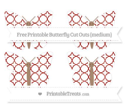 Free Turkey Red Quatrefoil Pattern Medium Butterfly Cut Outs