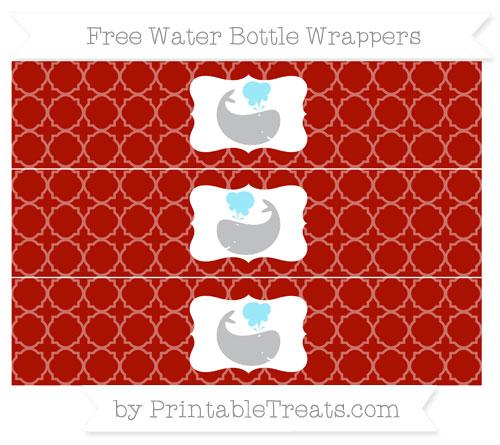 Free Turkey Red Quatrefoil Pattern Whale Water Bottle Wrappers