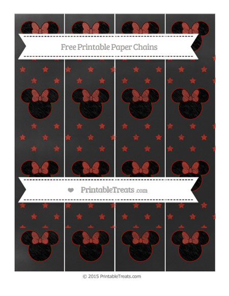 Free Turkey Red Star Pattern Chalk Style Minnie Mouse Paper Chains